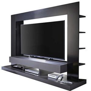 trendteam smart living Wohnzimmer Anbauwand Wohnwand TTX05, 164 x 124 x 46 cm in Korpus Grau, Front Schwarz Hochglanz…
