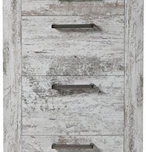 trendteam 1276-880-68 Kommode River, 60 x 102 x 41 cm, weiß Canyon Pinie / Shabby Chic Vintage Nachbildung