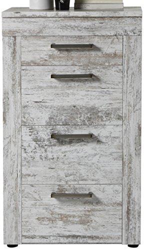 trendteam Wohnzimmer Sideboard Kommode Schrank River, 60 x 102 x 41 cm in Pine Weiß, Chabby Chic Retro (Nb.) mit viel Stauraum