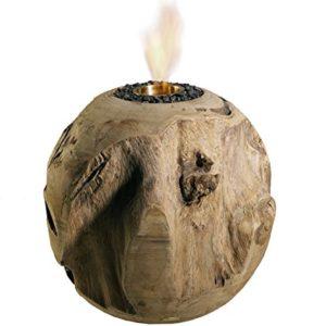 Trendy-Home24 20005 Feuerkugel aus Teakholz Durchmesser 30 cm Tischfeuer/kamin Dekokugel