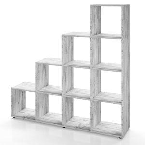 Vicco Treppenregal 10 Fächer – Raumteiler Stufenregal Raumtrenner Bücherregal Aktenregal Standregal