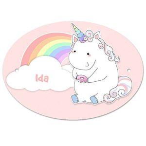 Türschild mit Namen IDA und Einhorn-Motiv in Pastell-Optik für Mädchen | Kinderzimmer-Schild