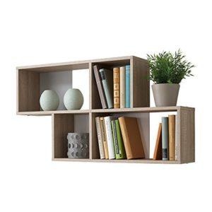 FMD furniture 270-001E, Wandregal in Ausführung Eiche Nachbildung/Weiß, Maße ca. 100 x 53 x 19,5 cm (BHT), Melaminharz…