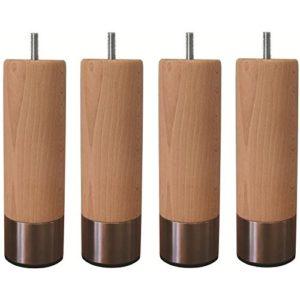 Jeu de pieds cylindriques en bois et inox brosséØ 5 cm – H 14,5 cm – Lot de 4