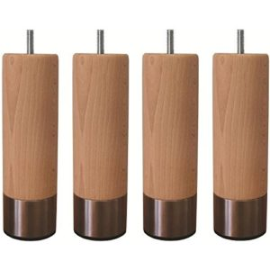 Jeu de pieds cylindriques en bois et inox brosséØ 6 cm – H 19 cm – Lot de 4