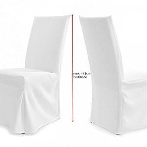 TexDeko Universal Stuhlhussen für extra hohe Lehne bis 112cm – Paris Plus (Creme)