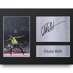 HWC Trading Usain Bolt Geschenke Unterzeichneten A4 Gedrucktes Autogramm Jamaica Olympia Druck-Foto-Bilderanzeige
