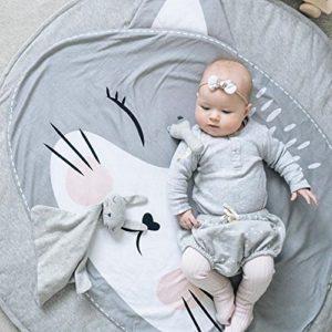Ustide Baby-Kriechteppich, Krabbeldecke, Schlafteppich, Anti-Rutsch-Spielmatte für Kinder, Baumwoll-Spielmatte, Spieldecke, umweltfreundlicher Teppich, Kinderzimmer-Deko, 95 x 95 cm