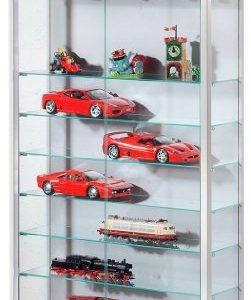 VCM 60460 Sammelvitrine Vindola XL, Regal für die Wand aus Holz und Glas in Silber/Buche