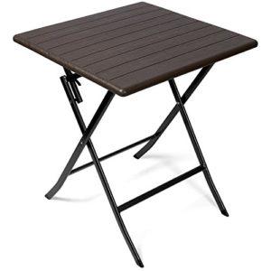 Vanage Beistelltisch in schwarz – eckiger Gartentisch in Holzoptik – Kunststofftisch für Garten, Terrasse und Balkon…