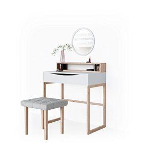 Vicco Schminktisch Linea Weiß Kosmetiktisch Frisierkommode Frisiertisch Spiegel skandinavisch+++ Hochwertige MASSIVHOLZ Beine +++