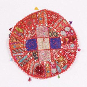 Jaipurtextilehub Vintage indischen Pouf Fusshocker, rund embrodried Patchwork osmanischen Sitzsack