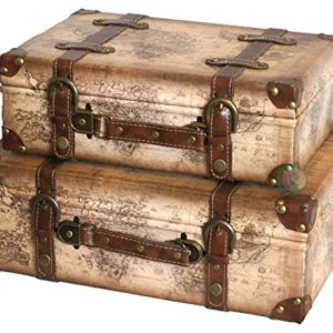 Vintiquewise (TM Alte Weltkarte Leder Vintage Style Koffer mit Riemen, 2er Set