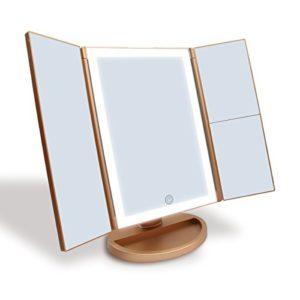 WEILY Schminkspiegel mit 2X/ 3X Vergrößerungund 21 LED Leuchten, Dual Power Supply Touchscreen Schalter (Golden)
