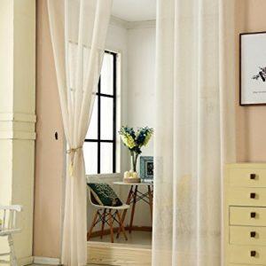 WOLTU® #631, 2er Set Gardinen transparent mit Ösen Leinen Optik, Doppelpack Ösenschal Vorhang Stores Voile Fensterschal Dekoschal für Wohnzimmer Kinderzimmer Schlafzimmer