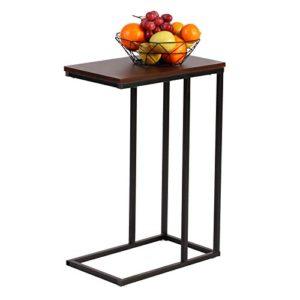 WOLTU® Beistelltisch TSG17dc Kaffeetisch Couchtisch Sofatisch Nachttisch Betttisch Laptoptisch, Gestell aus Metall, Tischpltte aus Holz, 45x25x63,5cm(BxTxH), Dunkelbuche