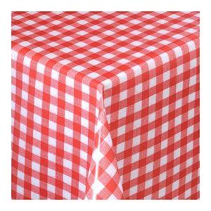 Wachstuch Tischdecke Wachstischdecke Gartentischdecke, Abwaschbar Meterware, Länge wählbar,Klein Kariert Rot Weiß (112-02)
