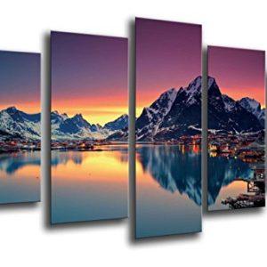 Wandbild – Landschaftssee Moskenes Sonnenuntergang, Norwegen, 165 x 62 cm, Holzdruck – XXL Format – Kunstdruck, ref.26154