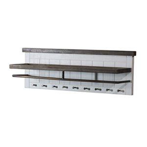 MÖBEL IDEAL Wandgarderobe Garderobe Garderobenleiste Loft, Massivholz Holz Akazie massiv, Landhausstil Weiß/Braun…