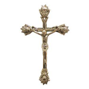 Wandkreuz Kreuz Wand-Kruzifix Jesus-Christus Messing Antik-Stil 32cm