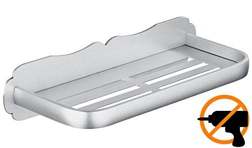 Wangel Duschregal Badregal ohne Bohren, Patentierter Kleber + Selbstklebender Kleber, Aluminium, Matte Finish
