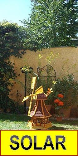 Windmühle 100 cm, 1 Balkon, WETTERFEST, mit Windrad, Seitenruder, Windfahne, WMB-RAD100ro-MS ,Windmühlen KOMPLETT mit Licht SOLAR Beleuchtung 1 m groß rot dunkelrot