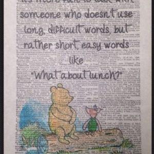 Winnie the Pooh Zitat Vintage Wörterbuch Seite Bild Friends Print Lunch Ferkel