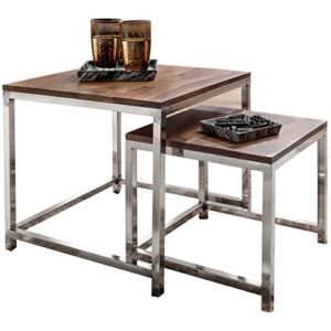 WOHNLING 2er Set Satztisch Massiv-Holz Sheesham Wohnzimmer-Tisch Metallgestell Landhausstil Beistelltisch Couchtisch Natur-Produkt Wohnzimmermöbel Unikat modern Massivholzmöbel Echtholz Anstelltisch