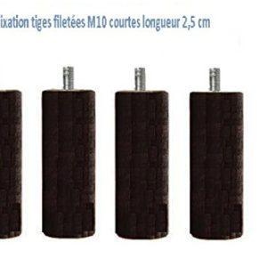 Wood Select Set 4Füße Bett 35cm Durchmesser 70mm schwarz mehrere Typ-Befestigung Tige Standard M8 Cadre sommier tapisier Bois