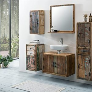 Woodkings® Bad Set Kalkutta 5teilig recyceltes Holz rustikal Mehrfarbig Badmöbel Badschrank Badezimmer Komplettset…