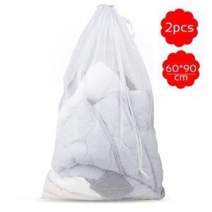 Samione Wäschesack, Wäschenetz mit Zugkordel Wäschebeutel für Dessous, Hemden, Socken und Baby Kleidung Netzbeutel Wäschenetz für Waschmaschine – 2 Stück (weiß)