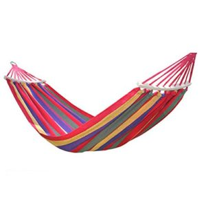 XHHWZB Doppelte Person Cotton Fabric Canvas Reise Hängematten Ultralight Camping Hängematte Portable Beach Swing Bett mit Laubholz Spreader Bar Baum hängende Suspended Outdoor Indoor Bett