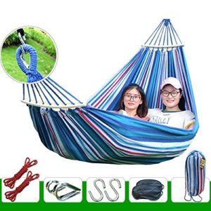 XHHWZB Easy Eagle Hängematten Anti-Rollover Travel Camping Leinwand Hängematte im Freien Rainbow Stripes Swing Senden Krawatte Seil + Tasche (78,74″x 39,37″ Double Red Stripes) (Farbe : Blue)