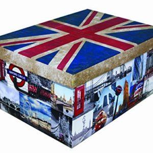 Kreher XXL Dekokarton Flagge UK/England mit Griffen aus Kunststoff und Deckel. Nutzvolumen ca. 40 Liter. Stapelbar. Maße BxTxH ca.: 51 x 37 x 24 cm