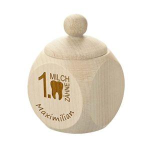 Zahndose aus Holz mit Gravur – Holzdose perfekt als kleines Geschenk – Motiv erste Milchzähnchen