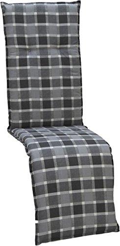 beo Gartenstuhlauflagen Saumauflage für Relaxstühle Karo, circa 47 x 168 cm, grau/schwarz / mehrfarbig