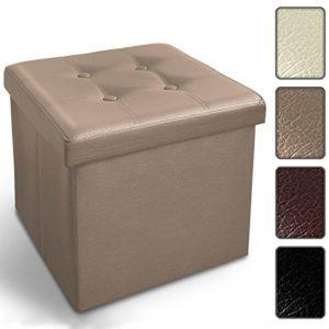casa pura Ottoman Hocker mit Stauraum | 2 Größen, faltbar, Kunstleder | große Aufbewahrungsbox mit Deckel | Kiste, Truhe zur Aufbewahrung | Zwei Farben