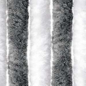 defacto Flauschvorhang Türvorhang 100x210cm Chenille Fliegenschutz Insektenschutz Camping Made in Italy Grau/Weiß