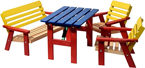 dobar Kindersitzgarnitur für vier Kinder aus FSC-Holz, braun/bunt