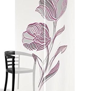 emotiontextiles 10314 Flächenvorhang, Schiebevorhand, Raumteiler 2-er Set Strichblume, 120 x 260 cm, Weiß/Beere