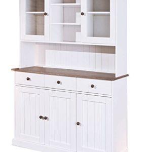 Esidra Bentonville Anrichte 5 Türen und 3 Schubladen, Holz, Weiß, 131x45x181 cm