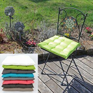 fashion and joy Garten Stuhlkissen Polsterauflage 40x40x4 cm mit Bindekordeln 9-Punkt-Steppung Sitzkissen Gartenstuhl Polster Kissen Auflage Typ550