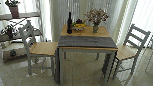 furniture-uk-shop Esstisch Holz massiv Tisch 2Stühle Zeitgenössisches Esszimmer-Set