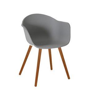 greemotion 129500 Gartenstuhl Derby aus Kunststoff in Grau-Stuhl mit Holzbeinen für Garten, Balkon & Terrasse-Gartensessel mit Armlehne-Lounge Sessel modern, 5,2 x 6 x 8 cm