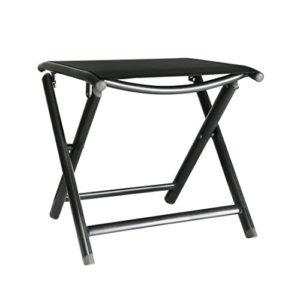 greemotion Klapphocker Aruba anthrazit, Gartenhocker besonders leicht, schnelltrocknender Campinghocker zusammenklappbar, Sitzhocker aus Aluminium und 4×4 Textilene, Maße: ca. 43 x 47 x 45 cm