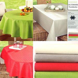 heimtexland Gartentischdecke Outdoor Tischdecke WETTERFEST 130 x 160 cm rechteckig in rot schmutz- und wasserabweisend…