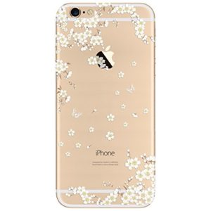 iPhone 6 Plus / iPhone 6S Plus Hülle , Yokata PC Hart Case mit Weich Pink Silikon Bumper Weiß Blumen Motif Schale Transparent Durchsichtig Dünn Case Schutzhülle Protective Cover