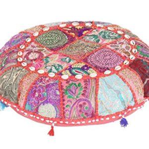 Jaipurtextilehub indischen Große Boden runde Kissen Boho Patchwork Zari kissenrollen mit Einsatz Ottoman