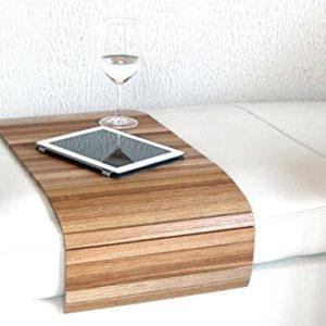 moebelhome Sofatablett Holz groß 80cm, Ablage Eiche Massivholz für Hocker oder Longchair Couch Tablett, Hockerablage NEU