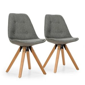 OneConcept Iseo – Schalenstuhl, Retrostuhl, Esszimmerstuhl, 70er-Jahre-Look, Retro-Design, 2er Stuhl-Set, breite, leicht Gebogene Sitzfläche, gepolsterte PP-Schale, Sitzhöhe von 47 cm, grau